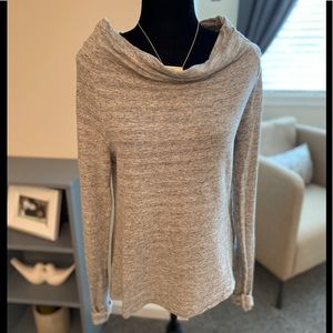 James Perse Long Sleeve Shirt Gray Cowl Neck Top
